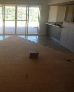 Cork flooring in progress